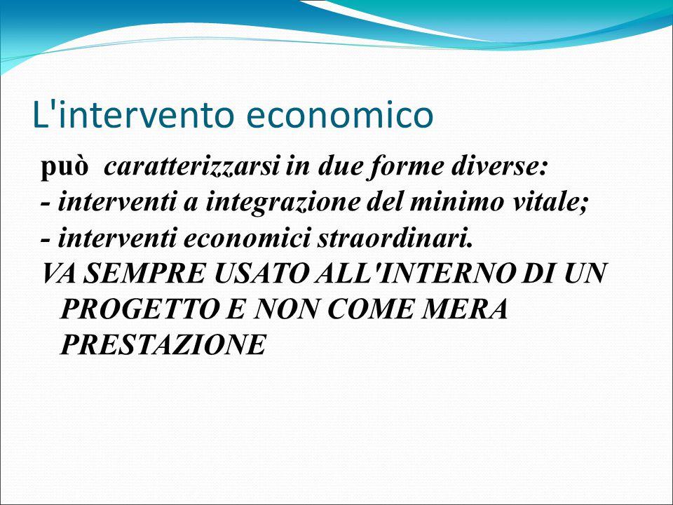 L'intervento economico può caratterizzarsi in due forme diverse: - interventi a integrazione del minimo vitale; - interventi economici straordinari. V