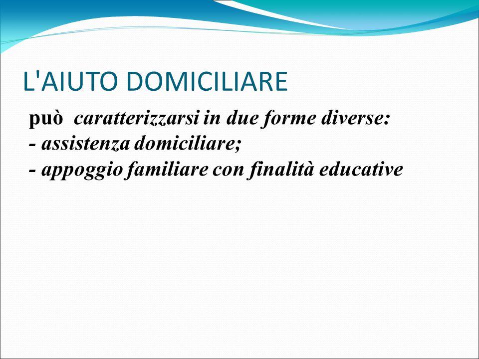 L'AIUTO DOMICILIARE può caratterizzarsi in due forme diverse: - assistenza domiciliare; - appoggio familiare con finalità educative