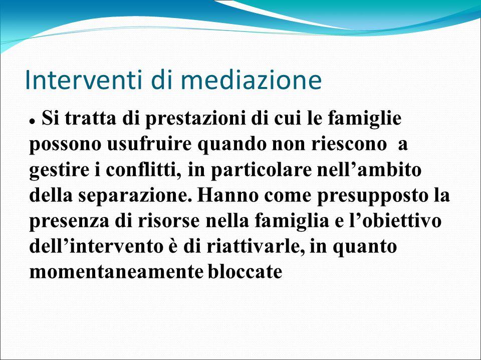 Interventi di mediazione Si tratta di prestazioni di cui le famiglie possono usufruire quando non riescono a gestire i conflitti, in particolare nell'