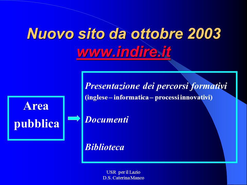 USR per il Lazio D.S. Caterina Manco INDIRE Progetto nazionale di formazione e - learning (D.M.