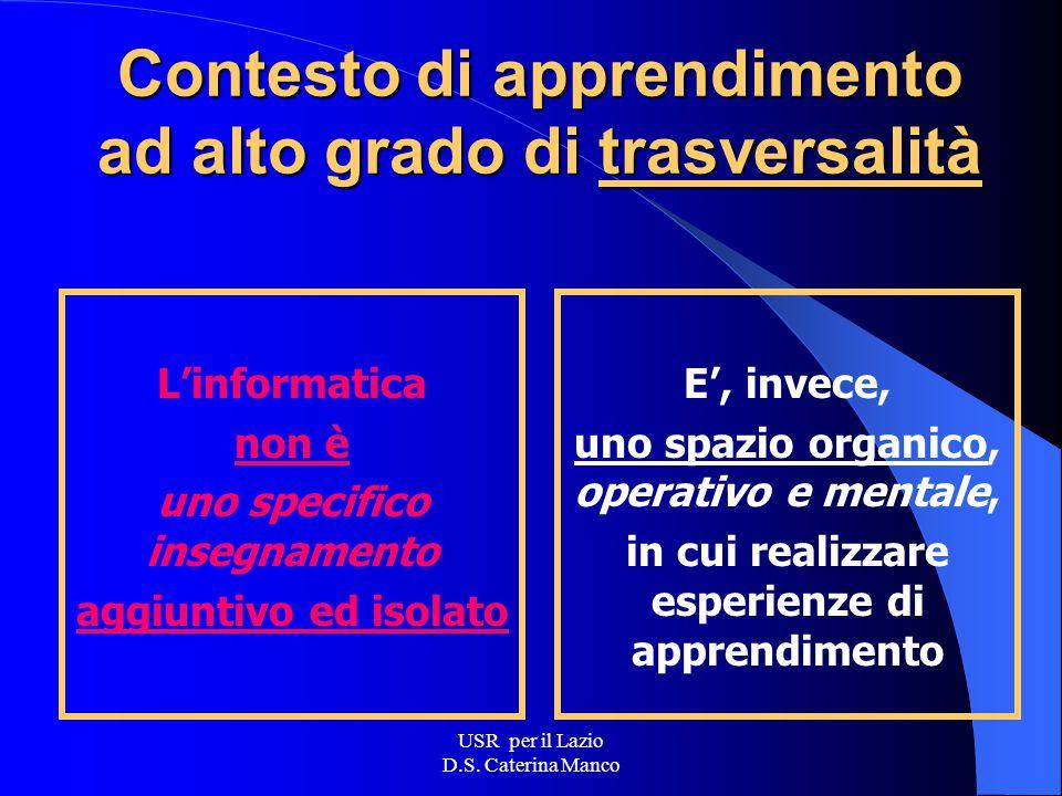 USR per il Lazio D.S. Caterina Manco Informatica: qualche informazione in più DM 61 del 22.07.03 CM 69 del 29.08.03 Linee di indirizzo e di orientamen