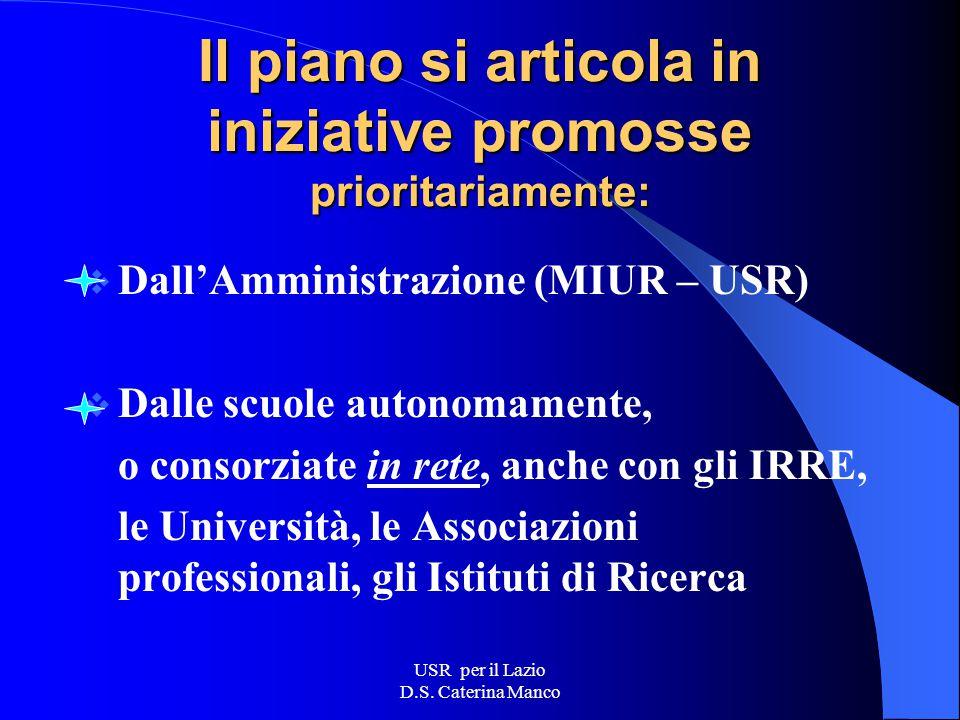 USR per il Lazio D.S. Caterina Manco Il M.I.U.R. promuove interventi di formazione a sostegno dei processi di innovazione Nel rispetto della centralit