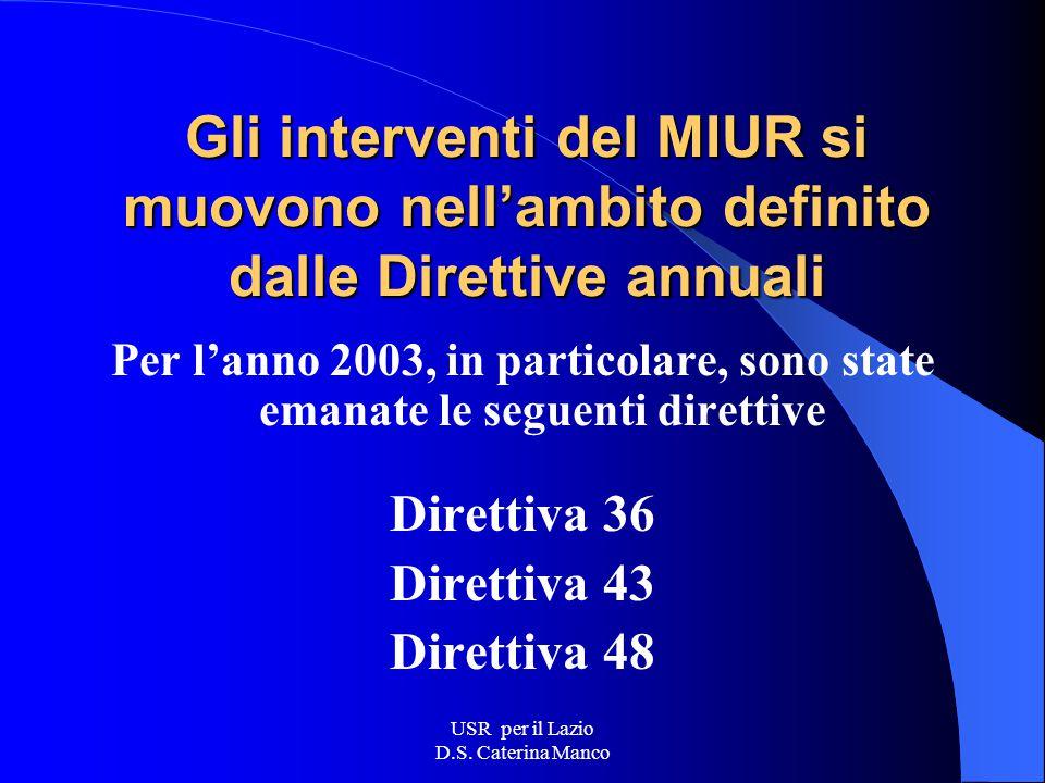 USR per il Lazio D.S. Caterina Manco Assetti organizzativi L'Amministrazione centrale Fornisce le linee di indirizzo e di coordinamento delle azioni n