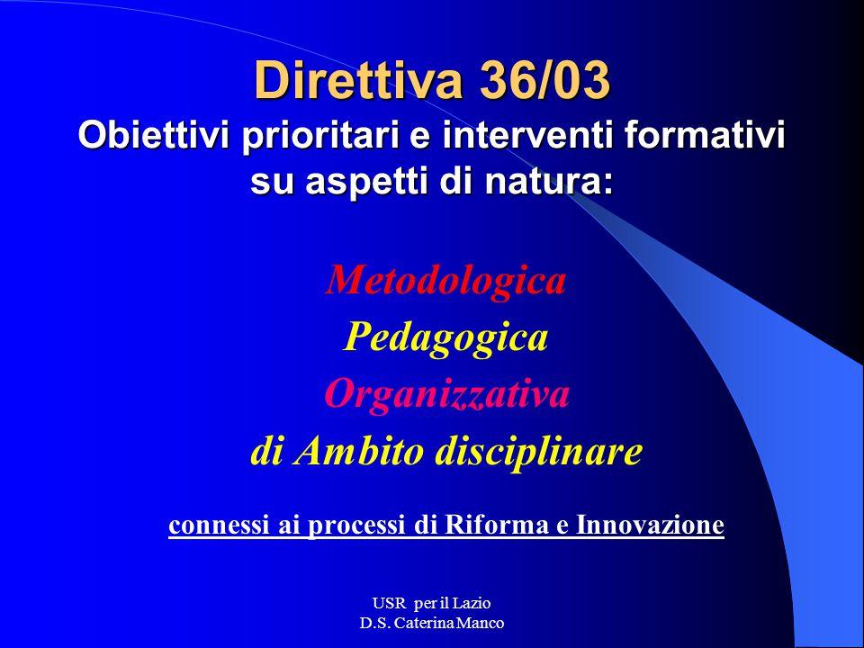 USR per il Lazio D.S. Caterina Manco Gli interventi del MIUR si muovono nell'ambito definito dalle Direttive annuali Per l'anno 2003, in particolare,