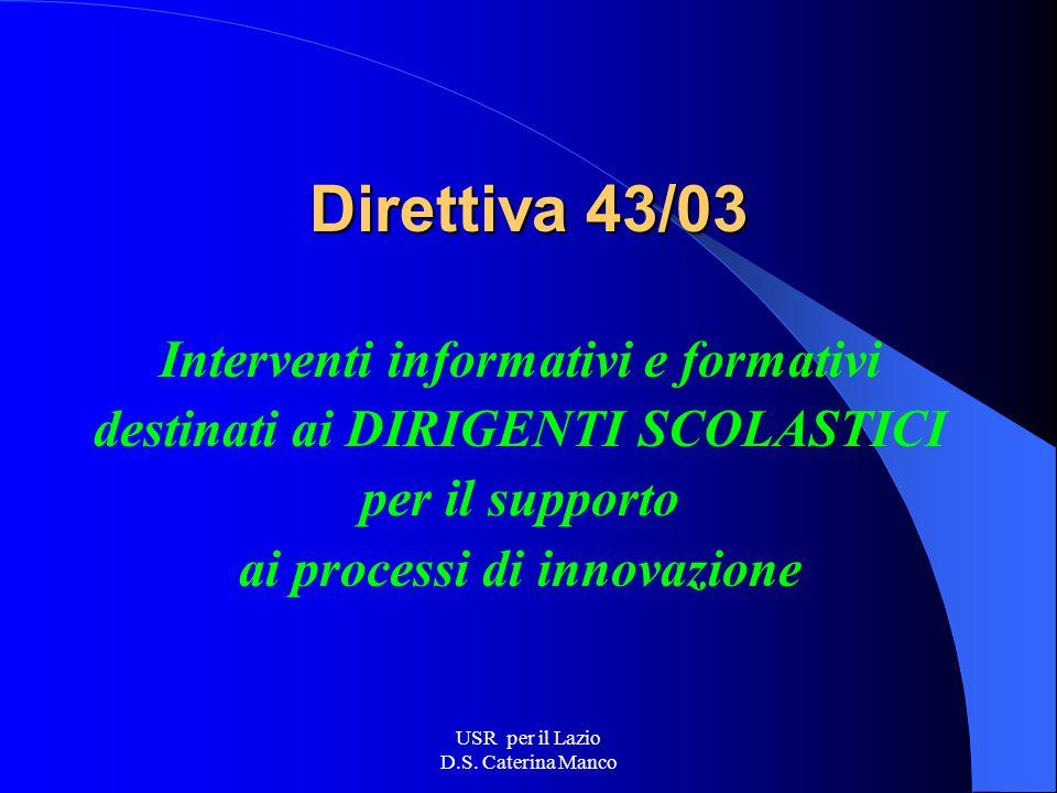 USR per il Lazio D.S. Caterina Manco Direttiva 36/03 Obiettivi prioritari e interventi formativi su aspetti di natura: Metodologica Pedagogica Organiz