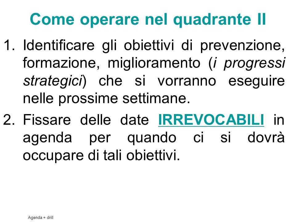 49 Come operare nel quadrante II 1.Identificare gli obiettivi di prevenzione, formazione, miglioramento (i progressi strategici) che si vorranno eseguire nelle prossime settimane.