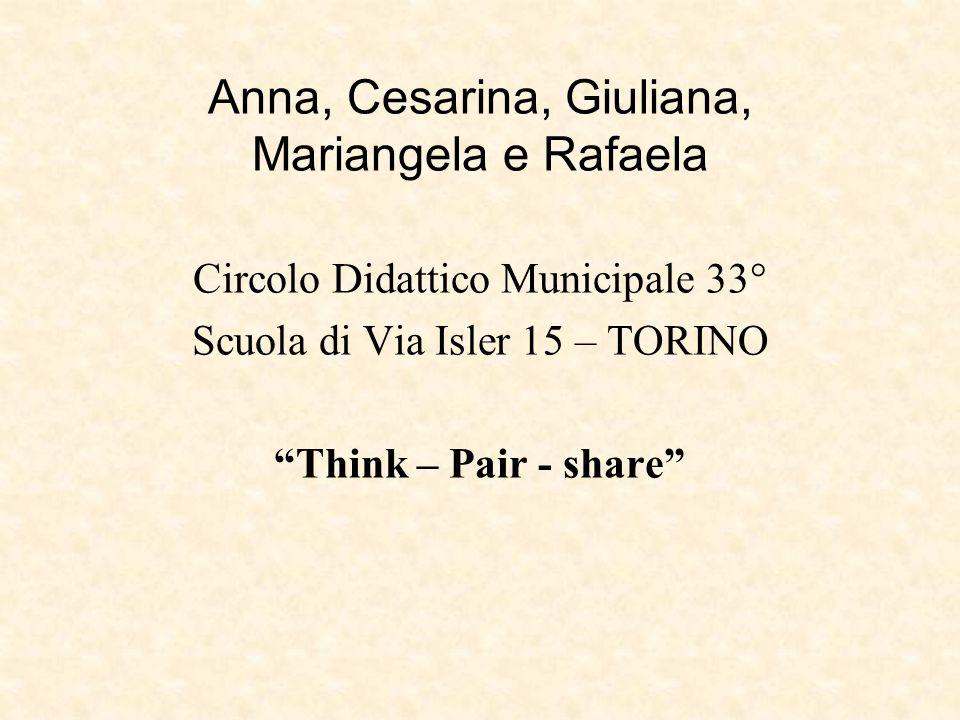 """Anna, Cesarina, Giuliana, Mariangela e Rafaela Circolo Didattico Municipale 33° Scuola di Via Isler 15 – TORINO """"Think – Pair - share"""""""