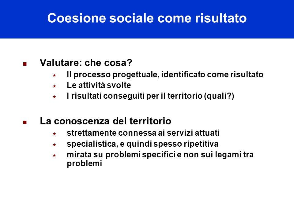 Coesione sociale come risultato Valutare: che cosa.