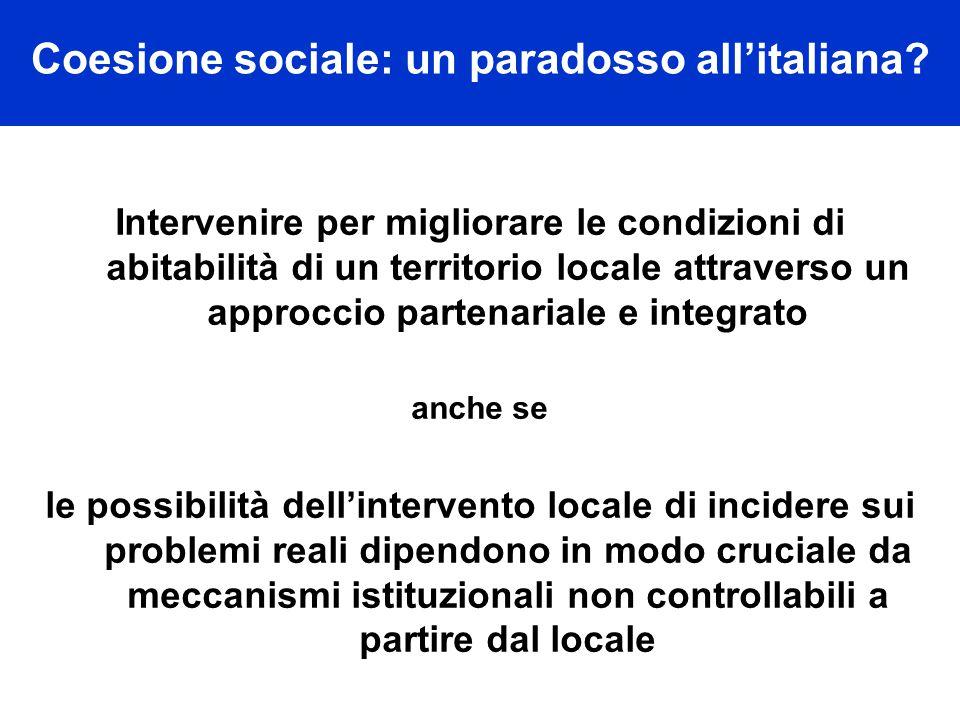 Coesione sociale: un paradosso all'italiana.