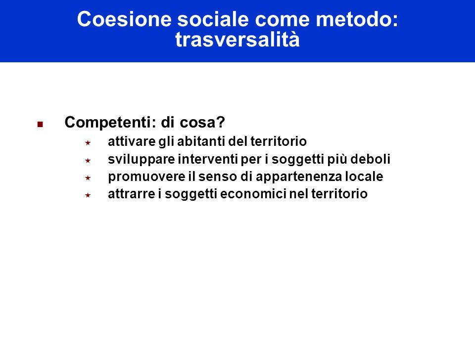 Coesione sociale come metodo: trasversalità Competenti: di cosa.