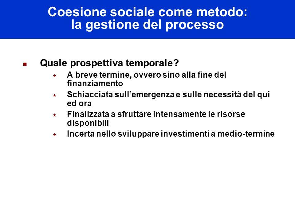 Coesione sociale come metodo: la gestione del processo Quale prospettiva temporale.