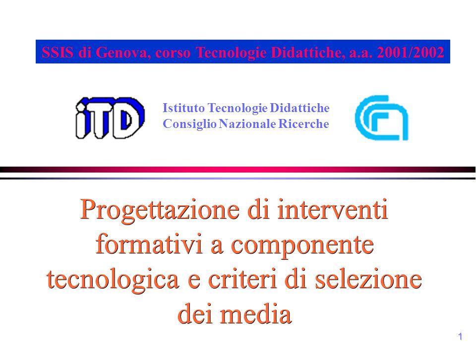 1 Progettazione di interventi formativi a componente tecnologica e criteri di selezione dei media Istituto Tecnologie Didattiche Consiglio Nazionale R