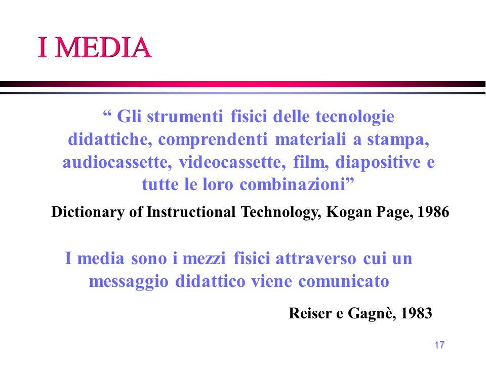"""17 I MEDIA """" Gli strumenti fisici delle tecnologie didattiche, comprendenti materiali a stampa, audiocassette, videocassette, film, diapositive e tutt"""