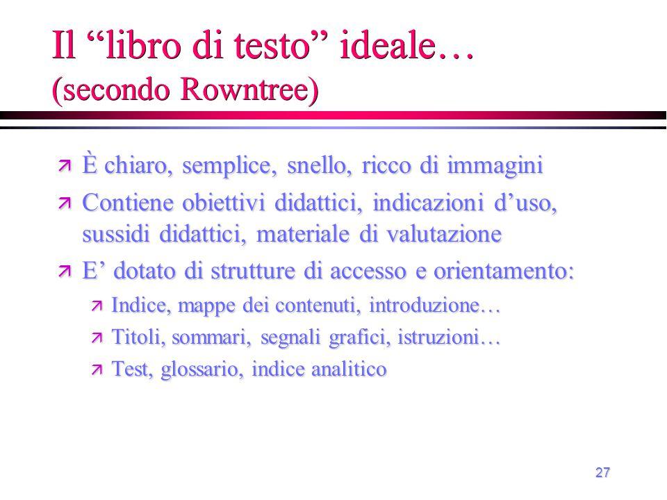 """27 Il """"libro di testo"""" ideale… (secondo Rowntree) ä È chiaro, semplice, snello, ricco di immagini ä Contiene obiettivi didattici, indicazioni d'uso, s"""