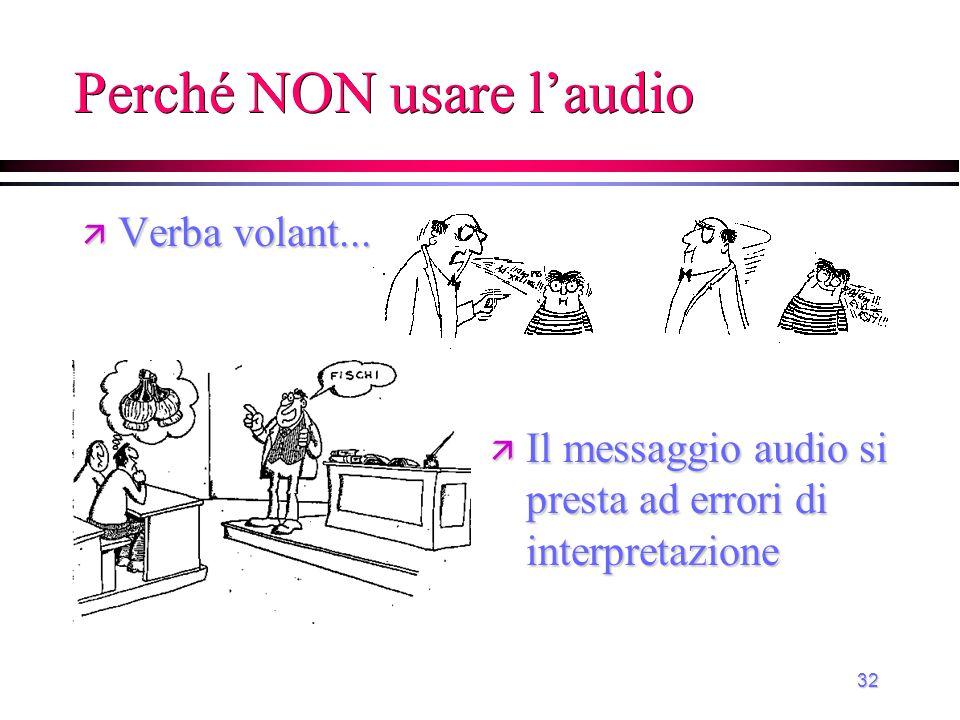 32 Perché NON usare l'audio ä Verba volant... ä Il messaggio audio si presta ad errori di interpretazione
