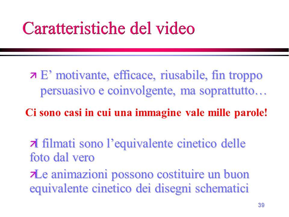39 Caratteristiche del video Ci sono casi in cui una immagine vale mille parole! ä I filmati sono l'equivalente cinetico delle foto dal vero ä Le anim