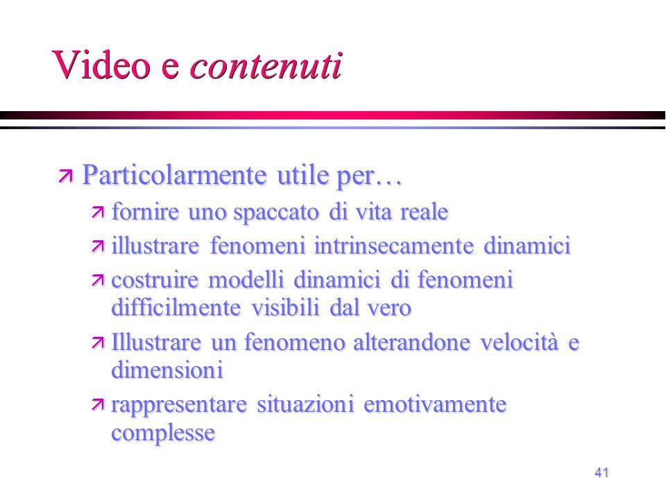 42 Video in rapporto agli obiettivi affettivo psicomotorio cognitivo