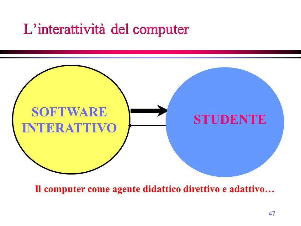 48 L'interattività del computer Il computer come ambiente didattico reattivo… SOFTWARE INTERATTIVO STUDENTE