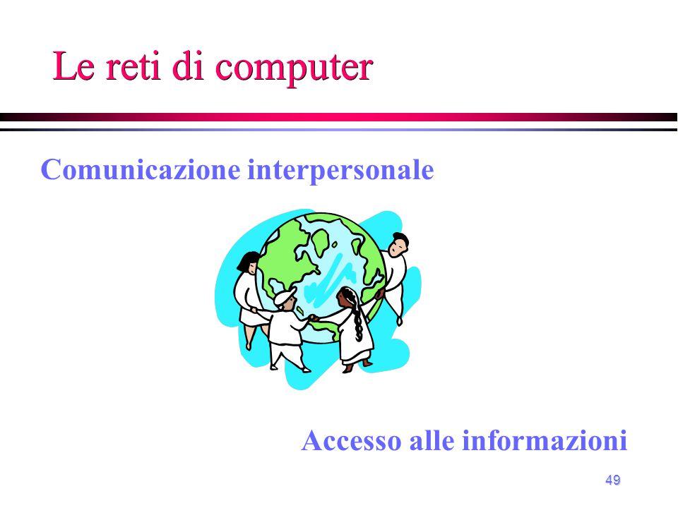 49 Le reti di computer Accesso alle informazioni Comunicazione interpersonale
