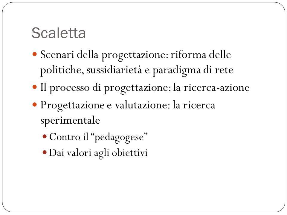 Scaletta Scenari della progettazione: riforma delle politiche, sussidiarietà e paradigma di rete Il processo di progettazione: la ricerca-azione Progettazione e valutazione: la ricerca sperimentale Contro il pedagogese Dai valori agli obiettivi