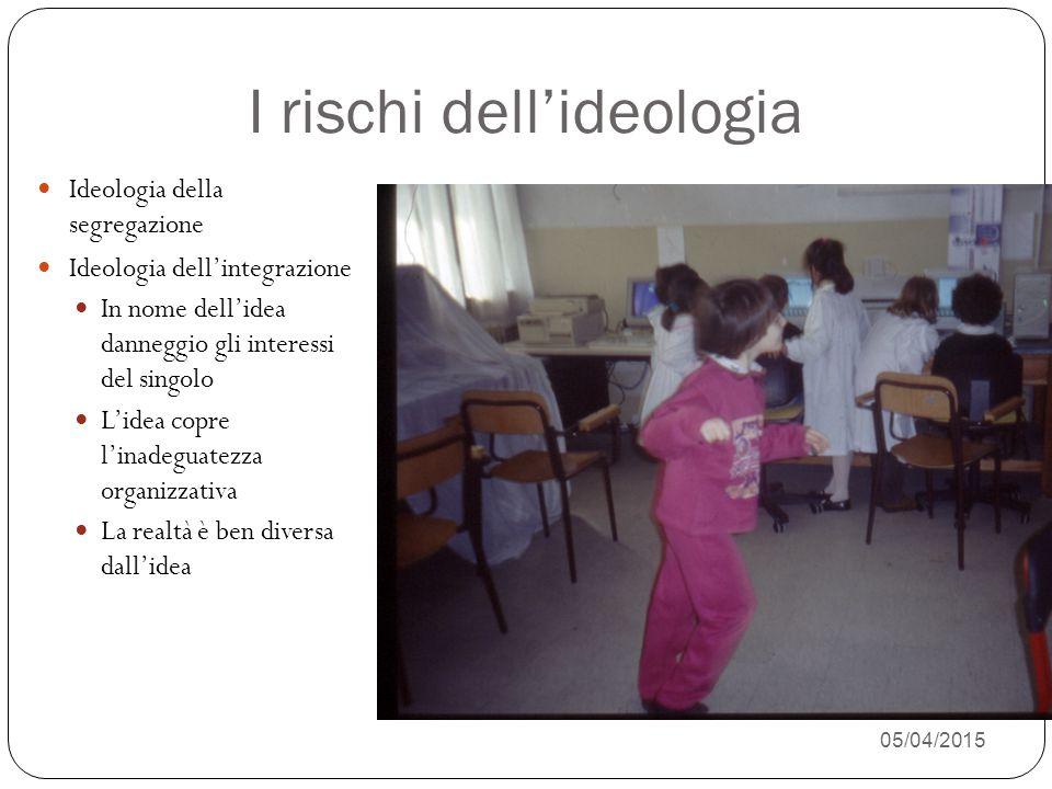 05/04/2015 24 I rischi dell'ideologia Ideologia della segregazione Ideologia dell'integrazione In nome dell'idea danneggio gli interessi del singolo L'idea copre l'inadeguatezza organizzativa La realtà è ben diversa dall'idea