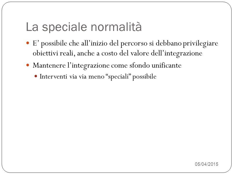 05/04/2015 27 La speciale normalità E' possibile che all'inizio del percorso si debbano privilegiare obiettivi reali, anche a costo del valore dell'integrazione Mantenere l'integrazione come sfondo unificante Interventi via via meno speciali possibile