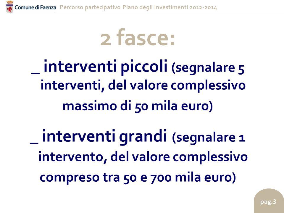 Percorso partecipativo Piano degli Investimenti 2012-2014 pag.3 2 fasce: _ interventi piccoli (segnalare 5 interventi, del valore complessivo massimo di 50 mila euro) _ interventi grandi (segnalare 1 intervento, del valore complessivo compreso tra 50 e 700 mila euro)