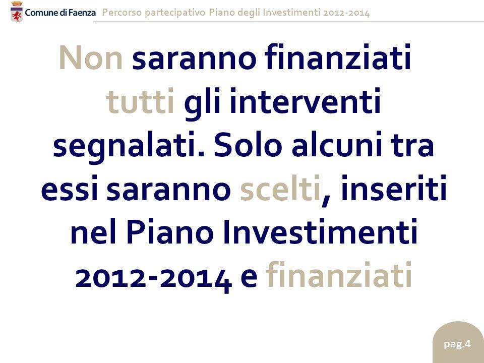 Percorso partecipativo Piano degli Investimenti 2012-2014 pag.4 Non saranno finanziati tutti gli interventi segnalati.