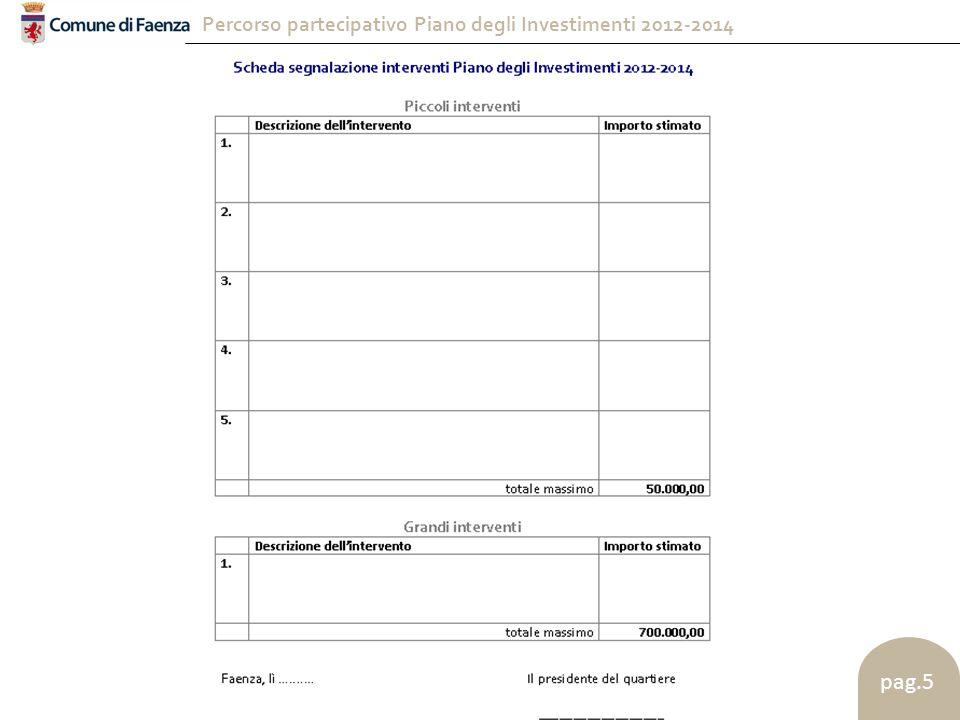 Percorso partecipativo Piano degli Investimenti 2012-2014 pag.6 pubblicizzazione tramite conferenza stampa e pubblicazione sul sito web del Comune