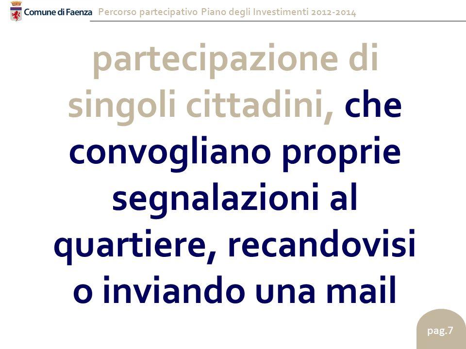 Percorso partecipativo Piano degli Investimenti 2012-2014 pag.7 partecipazione di singoli cittadini, che convogliano proprie segnalazioni al quartiere, recandovisi o inviando una mail
