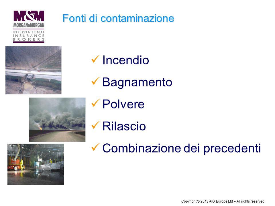 Fonti di contaminazione Incendio Bagnamento Polvere Rilascio Combinazione dei precedenti Copyright © 2013 AIG Europe Ltd – All rights reserved