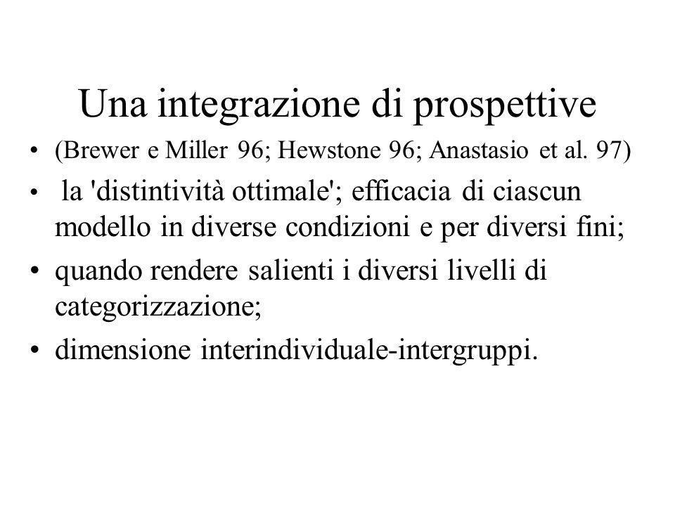Una integrazione di prospettive (Brewer e Miller 96; Hewstone 96; Anastasio et al.