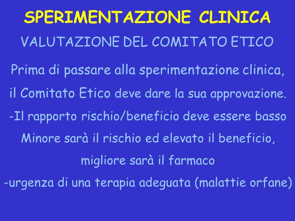 SPERIMENTAZIONE CLINICA VALUTAZIONE DEL COMITATO ETICO Prima di passare alla sperimentazione clinica, il Comitato Etico deve dare la sua approvazione.