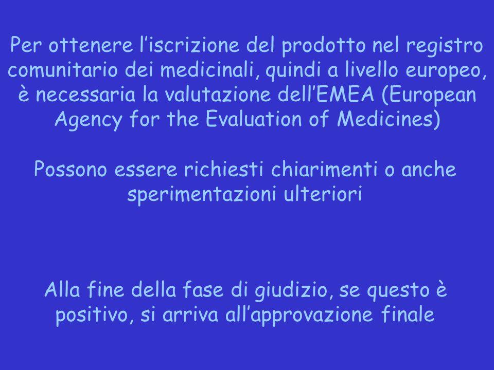 Per ottenere l'iscrizione del prodotto nel registro comunitario dei medicinali, quindi a livello europeo, è necessaria la valutazione dell'EMEA (Europ