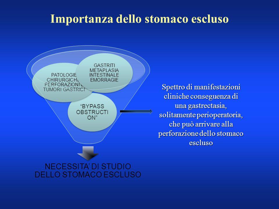 """Importanza dello stomaco escluso NECESSITA' DI STUDIO DELLO STOMACO ESCLUSO """"BYPASS OBSTRUCTI ON"""" PATOLOGIE CHIRURGICHE: PERFORAZIONI E TUMORI GASTRIC"""