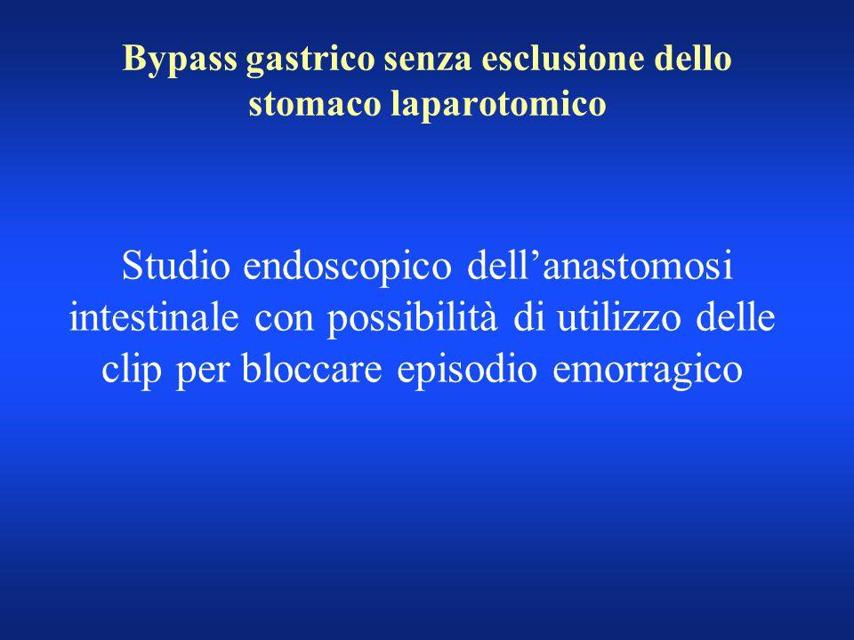 Bypass gastrico senza esclusione dello stomaco laparotomico Studio endoscopico dell'anastomosi intestinale con possibilità di utilizzo delle clip per