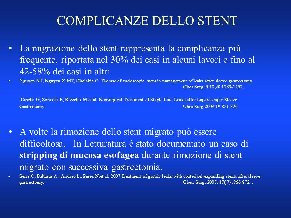 COMPLICANZE DELLO STENT La migrazione dello stent rappresenta la complicanza più frequente, riportata nel 30% dei casi in alcuni lavori e fino al 42-5