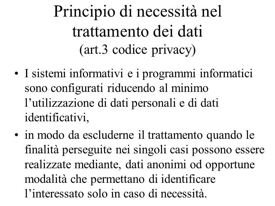 Principio di necessità nel trattamento dei dati (art.3 codice privacy) I sistemi informativi e i programmi informatici sono configurati riducendo al m