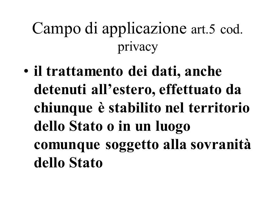 Campo di applicazione art.5 cod. privacy il trattamento dei dati, anche detenuti all'estero, effettuato da chiunque è stabilito nel territorio dello S