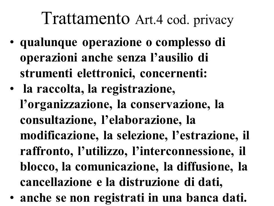 Trattamento Art.4 cod. privacy qualunque operazione o complesso di operazioni anche senza l'ausilio di strumenti elettronici, concernenti: la raccolta