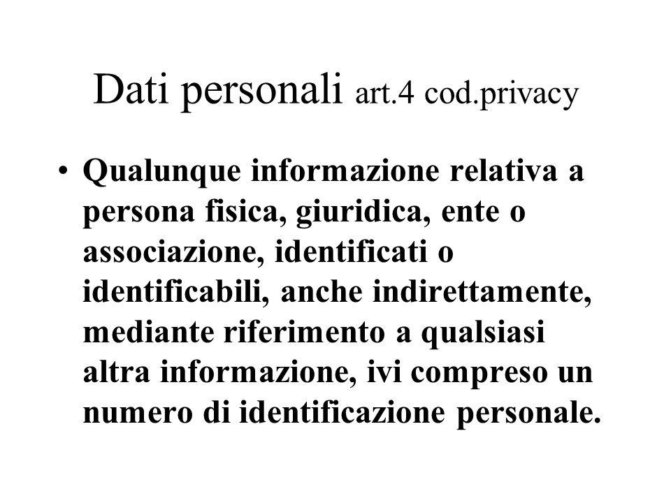 Dati personali art.4 cod.privacy Qualunque informazione relativa a persona fisica, giuridica, ente o associazione, identificati o identificabili, anch