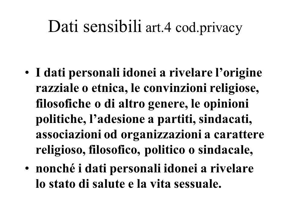 Dati sensibili art.4 cod.privacy I dati personali idonei a rivelare l'origine razziale o etnica, le convinzioni religiose, filosofiche o di altro gene
