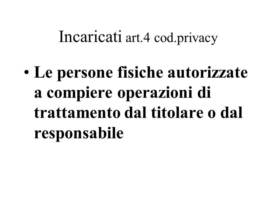Interessato art.4 cod.privacy La persona fisica, la persona giuridica, l'ente o l'associazione cui si riferiscono i dati personali