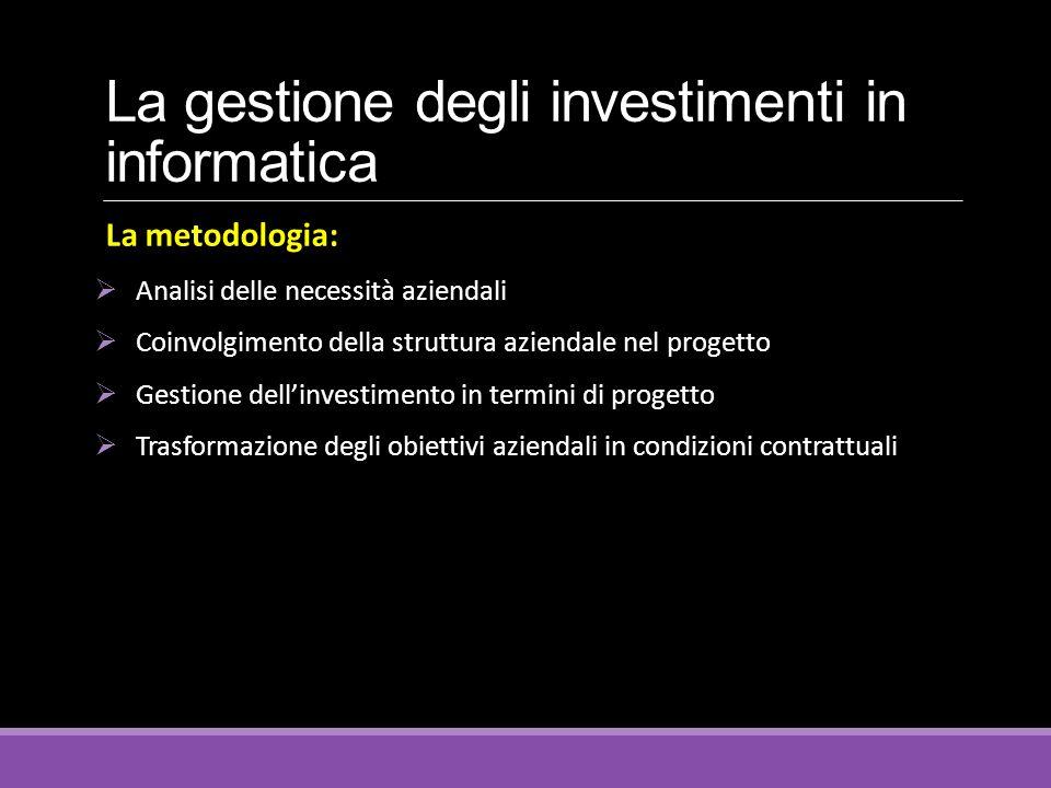 La gestione degli investimenti in informatica La metodologia:  Analisi delle necessità aziendali  Coinvolgimento della struttura aziendale nel proge