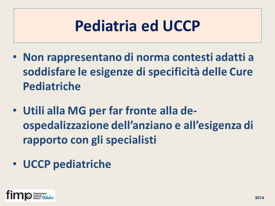 2014 Pediatria ed UCCP Non rappresentano di norma contesti adatti a soddisfare le esigenze di specificità delle Cure Pediatriche Utili alla MG per far