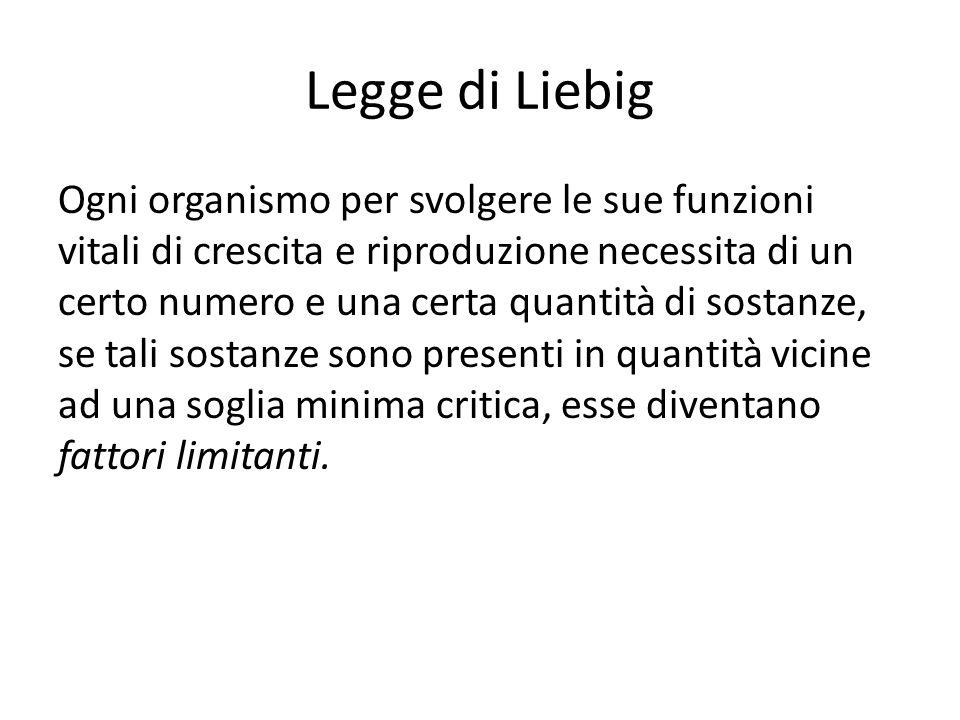 Legge di Liebig Ogni organismo per svolgere le sue funzioni vitali di crescita e riproduzione necessita di un certo numero e una certa quantità di sos