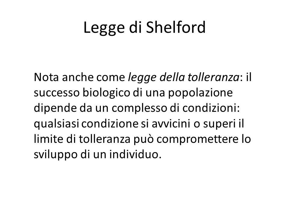 Legge di Shelford Nota anche come legge della tolleranza: il successo biologico di una popolazione dipende da un complesso di condizioni: qualsiasi co