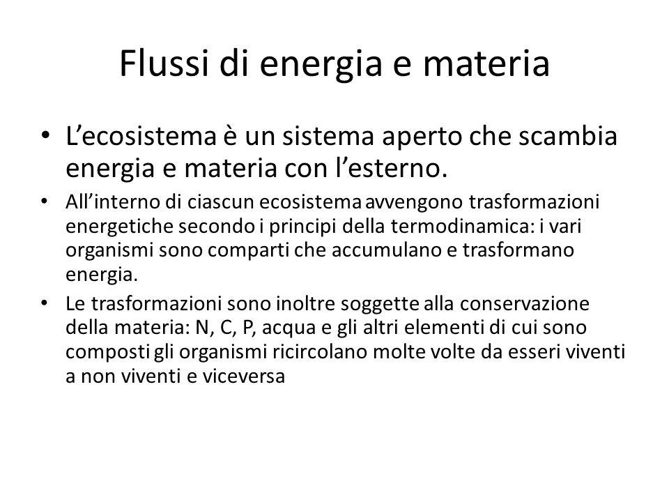 Flussi di energia e materia L'ecosistema è un sistema aperto che scambia energia e materia con l'esterno. All'interno di ciascun ecosistema avvengono