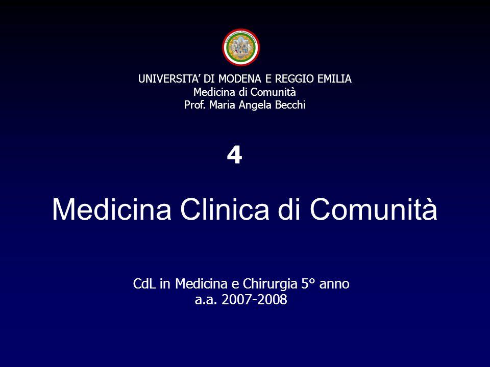 UNIVERSITA' DI MODENA E REGGIO EMILIA Medicina di Comunità Prof. Maria Angela Becchi Medicina Clinica di Comunità CdL in Medicina e Chirurgia 5° anno