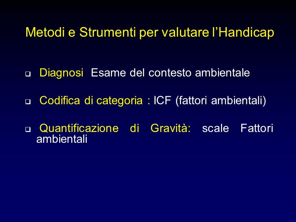 Metodi e Strumenti per valutare l'Handicap  Diagnosi: Esame del contesto ambientale  Codifica di categoria : ICF (fattori ambientali)  Quantificazi